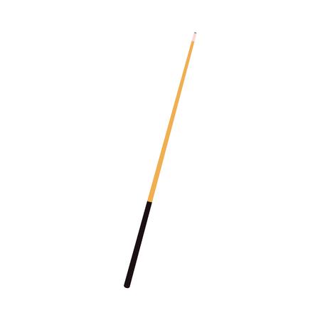 Vector platte cartoon stijl houten keu met zwart handvat. Geïsoleerde illustratie op een witte achtergrond. Professionele snooker, biljart apparatuur, instrument voor uw ontwerp.