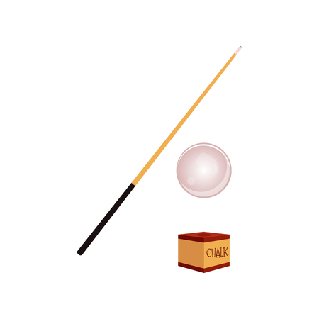 Vector flat cartoon style wooden cue with black handle, cue ball and chalk block. Isolated illustration on a white background. Professional snooker, pool billiard equipment, instrument for your design