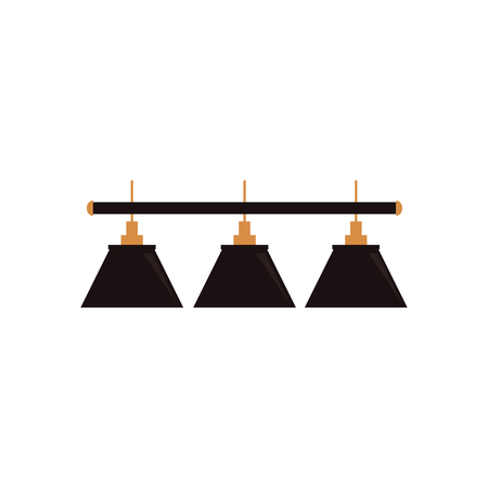 Vector platte cartoon groene biljart hanglamp. Geïsoleerde illustratie op een witte achtergrond. Professionele snooker, biljart apparatuur, meubels voor uw ontwerp.