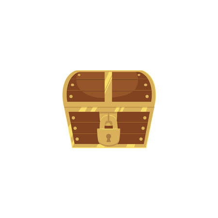 Closed and locked wooden pirate treasure chest, front view, flat style cartoon vector illustration isolated on white background. Flat style treasure chest, new, closed with hanging padlock Illustration