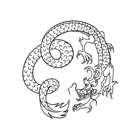 Flying and Chinese, Japanese dragon, hand drawn vector illustration isolated on white background. Traditional Japanese, Chinese, Asian red and dragon flying in spiral