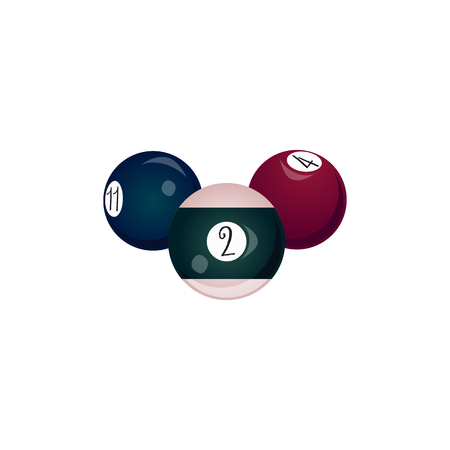 Flat cartoon colored balls with numbers.