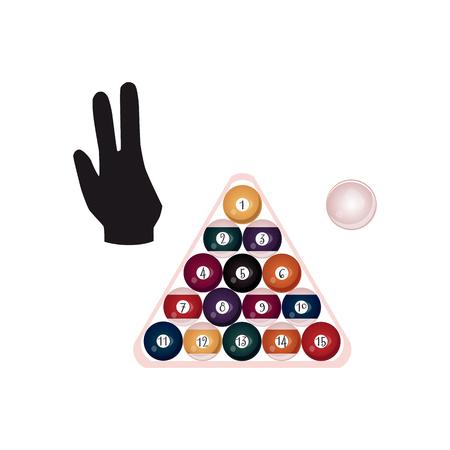 Platte gekleurde ballen met getallen in piramide.