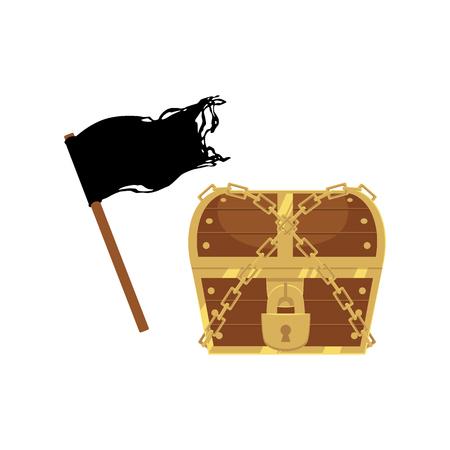 Flat pirates symbols set icon.
