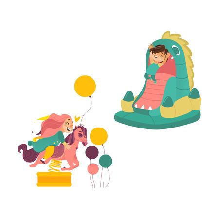Gelukkige jonge geitjes, kinderen, jongen en meisje die pret op speelplaats hebben die op draakuitsmijter springen en een de lentepaard, beeldverhaal vectordieillustratie berijden op witte achtergrond wordt geïsoleerd. Kinderen hebben plezier Stock Illustratie