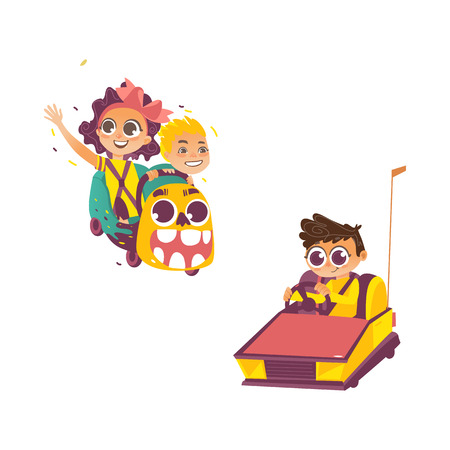 vector flat cartoon kids in amusement park set. Boy riding bumper car, boy and girl riding at roller coaster. Isolated illustration on a white background