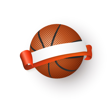 Traditional orange basketball ball and blank, empty ribbon for text, emblem, design, realistic vector illustration isolated on white background. Realistic basketball ball and blank, empty ribbon