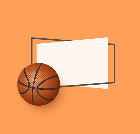 vector flat basketball ball, sport equipment object with paper banner in frame with free space for your text. graphic design or web design element. illustration on orange background