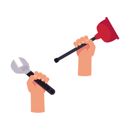 Hands holding repair tools icon.