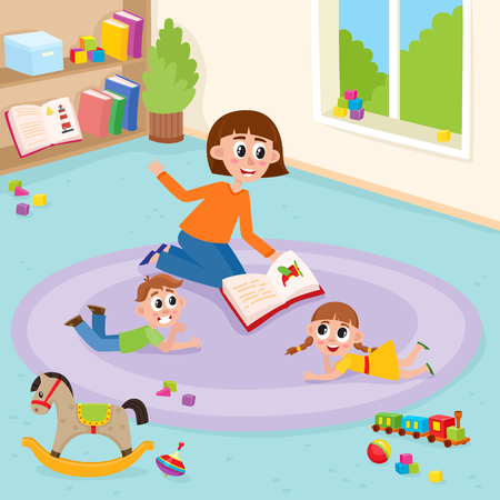 vector flat boy and girl kids lying at carpet with train, rocking horse, cubics toys and ball near woman teacher reading book to them explaining. Isolated illustration white background