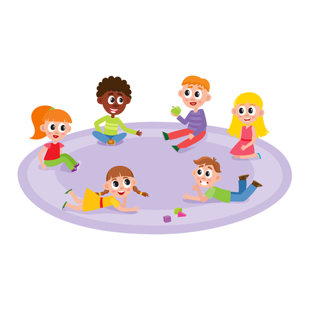 vector flat boys and girls sitting, lying at carpet playing with train, cubics toys and ball smiling and chatting at preschool class . Isolated illustration on a white background.
