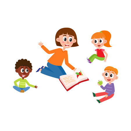 vector flat kids - boys and girls sitting around young woman with book - teacher and listening to her attentively with interest. Isolated illustration on a white background. Kindergarten concept