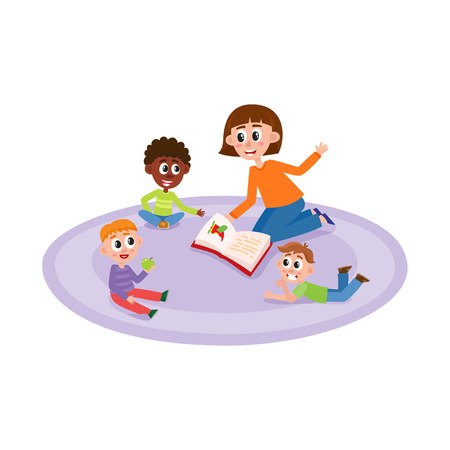 vector flat boys kids sitting at carpet around young woman with book - teacher and listening to her attentively with interest, one eats apple. Isolated illustration, white background.