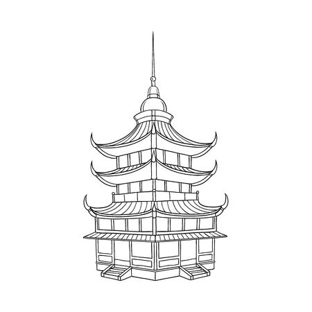 Bâtiment de pagode asiatique traditionnelle japonaise, chinoise, asiatique, illustration vectorielle de style plat isolée sur fond blanc. Bâtiment traditionnel japonais, chinois, pagode asiatique Vecteurs