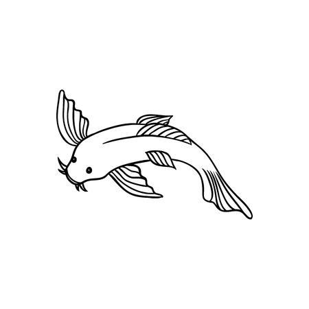 Japanese, Asian koi carp, goldfish, fish, top view flat style cartoon vector illustration isolated on white background. Japanese koi carp, fish drawing Illustration