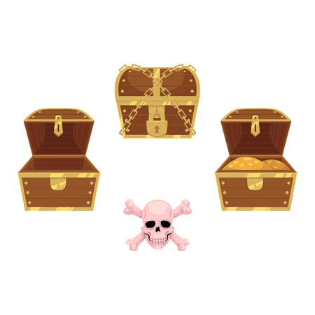 vector wooden treasure chest set and skull and cross bones. Isolated illustration on a white background. Opened, full of golden coins, closed and chained boxes and pirates , risk and adventure sign
