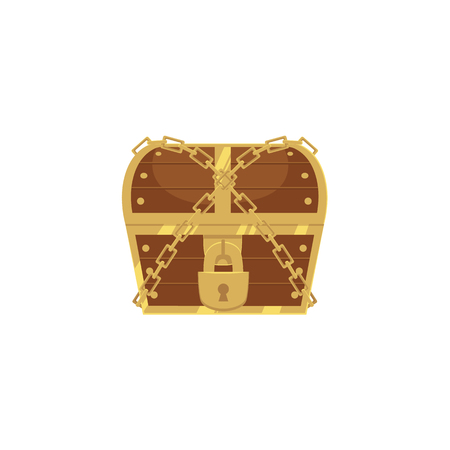 vector closed locked chained wooden treasure chest. Isolated illustration on a white background. Flat cartoon symbol of adventure, pirates, risk profit and wealth. Illustration