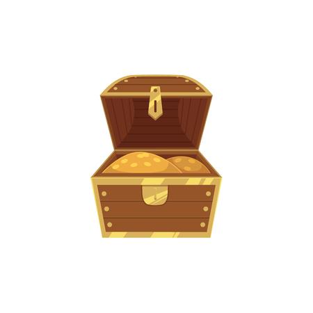 벡터 황금 동전 아이콘의 전체 목조 보물 상자가 열립니다. 흰색 배경에 고립 된 그림입니다. 모험, 해 적, 위험한 이익과 부의 플랫 만화 기호. 일러스트