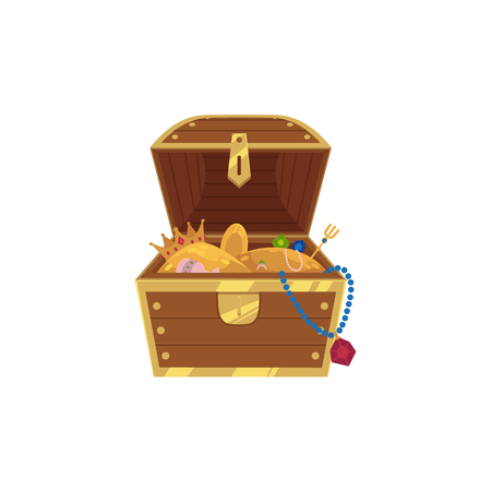 vector opened wooden treasure chest full of golden coins, gems jewelry. Isolated illustration on a white background. Flat cartoon symbol of adventure, pirates, risk profit and wealth.