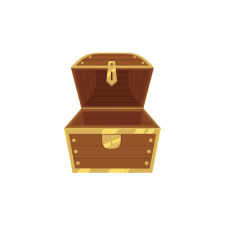 Open empty wooden pirate treasure chest, front view, flat style cartoon vector illustration isolated on white background. Flat style treasure chest, new and empty, nothing inside Stock Vector - 92122478