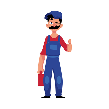 vector cartoon handsome man blumber in working uniform with mustache holding case with tools and equipment showing thumbs up winking. isolated illustration on a white background Reklamní fotografie - 92122483