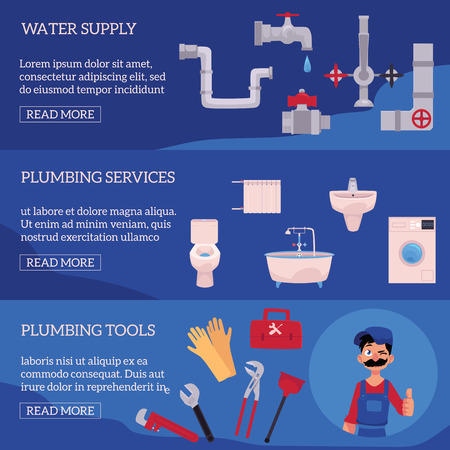 vector plumbing concept infographic posters set. man blumber in uniform and mustache holding case with tools thumbs up, winking, water valve, plunger, pipe, monkey wrench, domestic blumbing. Ilustrace