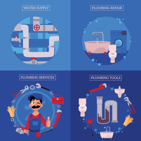 vector plumbing concept posters set. man blumber in uniform and mustache thumbs up winking, water supply, plumbing tools - plunger, pipe, monkey wrench, domestic blumbing repair. illustration