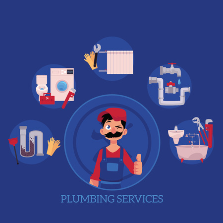 vector plumbing services concept poster. man blumber in uniform and mustache thumbs up, winking and water supply - water valve, plunger, pipe, monkey wrench, domestic blumbing. illustration Illustration