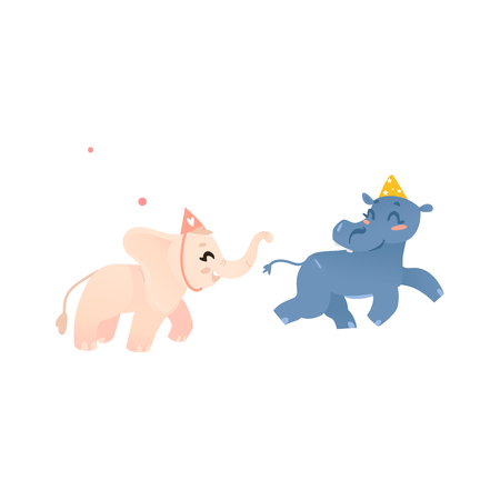 Cute baby hippo and elephant characters in birthday hats playing tag. Cartoon illustration on white background.