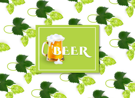 Vector poster, banner with full mug of golden lager beer with thick white foam in hop leaves pattern template. Ready for your design mock-up.