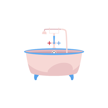 Side view claw foot bathtub, bath tub with faucet, cold and hot water handles and douche. Cartoon illustration on white background.