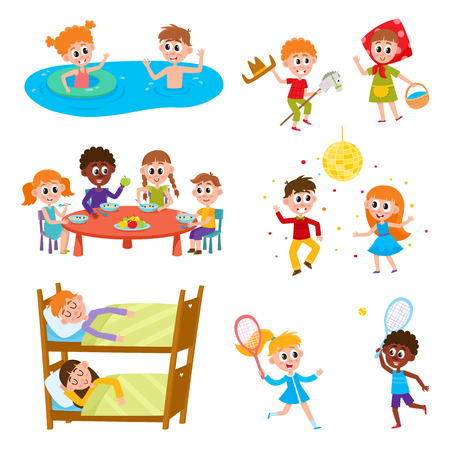 Set of kids, boys and girls on vacation in summer camp - eating, sleeping, playing, swimming, dancing, sleeping, cartoon vector illustration on white background. Happy kids in summer camp set Vettoriali