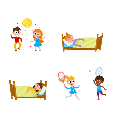 vector summer camp kids set. Caucasian and african Girls and boys sleeping in bed, playing badminton and dancing at party under disco ball. Isolated illustration white background