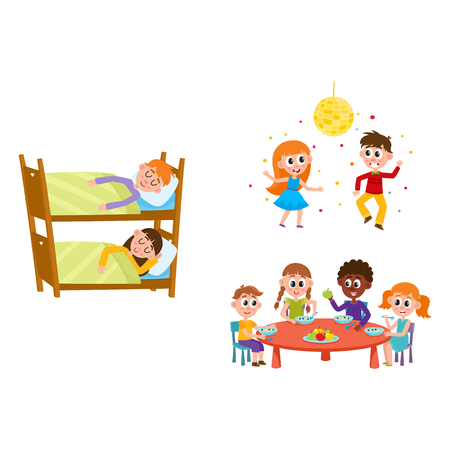 vector summer camp kids set. Caucasian, african Girls, boys eating porridge, fruits vegetables at table, sleeping in bunk bed, dancing at party under disco ball. Isolated illustration white background Ilustração