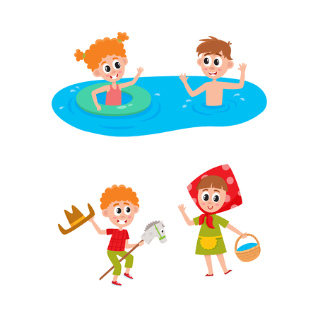 vector summer camp kids set. Caucasian boys and girls swimming in water in river or pool with inflatable ring, playing at stage . Isolated illustration white background