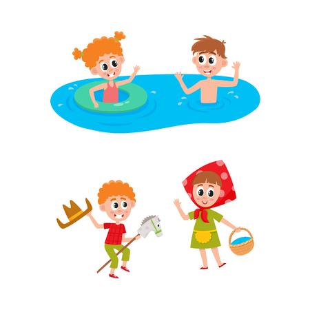 Vecteur camp d'été enfants ensemble. Caucasiens garçons et filles nageant dans l'eau d'une rivière ou d'une piscine avec un anneau gonflable, jouant sur scène. Fond blanc illustration isolé Banque d'images - 92123522