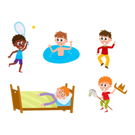 vector summer camp kids set. Caucasian and african boys sleeping in bed, playing badminton and dancing at party, swimming in water, playing at stage. Isolated illustration white background