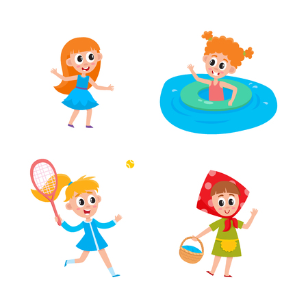 vector summer camp kids set. Caucasian girls swimming in water in river or pool with inflatable ring, playing at stage in headscarf, dancing, playing badminton . Isolated illustration white background