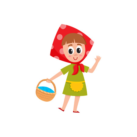 Cute little girl in babushka kerchief holding a basket, picking berry, mushroom, cartoon vector illustration isolated on white background. Funny girl in polka dotted head kerchief with basket