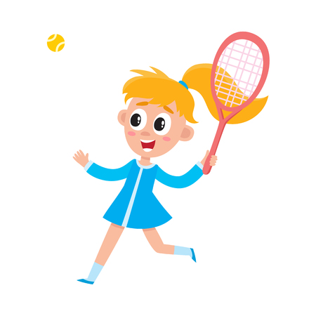 Pretty girl in summer dress playing badminton with ball and racket, cartoon vector illustration on white background. Full length portrait of cartoon blond girl with ponytail playing badminton