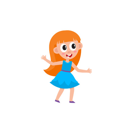 vector flat cartoon children at summer camp concept. Long red-haired Girl in blue dress having fun dancing at party . Isolated illustration on a white background.