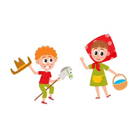 vector flat cartoon children at summer camp concept. Boy playing with wooden horse and cowboy hat.
