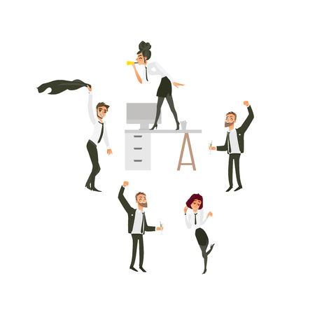 vector flat office workers at corporate party set. Men and girls in formal clothing with necktie having fun dancing at floor, at table blowing into pipe, swinging their jackets. Isolated illustration Иллюстрация