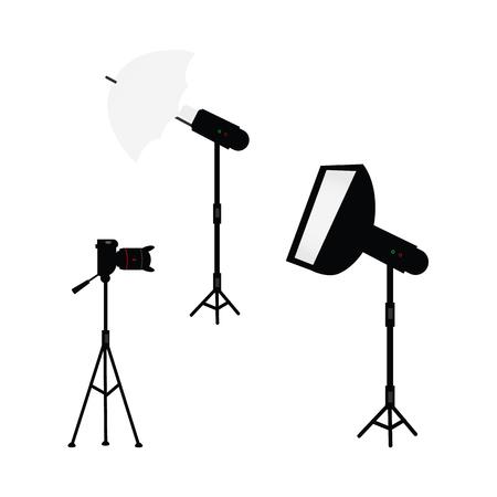 Flat cartoon professional studio photo light equipment set. Illustration