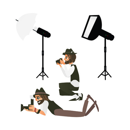 vector cartoon professional male photographers in different poses making photo and professional photo and light equipment set - cameras, flash studio light. Isolated illustration on a white background