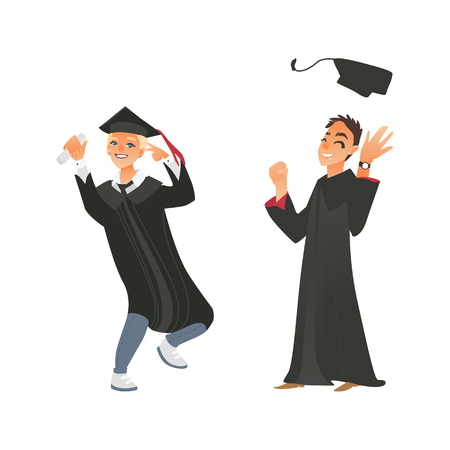 vector flat cartoon college, university happy graduate character, boys in graduation gown, cap holding diploma throwing hat up celebrating, dancing. Isolated illustration on a white background.