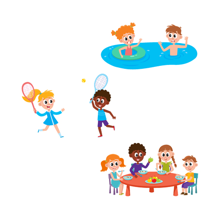 vector summer camp kids set. Caucasian and african Girls and boys eating porridge, fruits vegetables at table, swimming in water, playing badminton. Isolated illustration white background Illustration