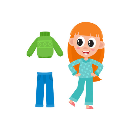 vector flat cute girl kid child with long red hair in funny nightgown and slippers standing smiling, outfit set - blue denim jeans, warm pullover. isolated illustration on a white background. Stock Illustratie