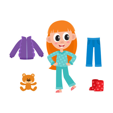 vector flat cute kid child with long red hair in funny nightgown and slippers standing smiling, outfit set - blue denim jeans, outdoor jacket, boots, bear toy. isolated illustration white background.