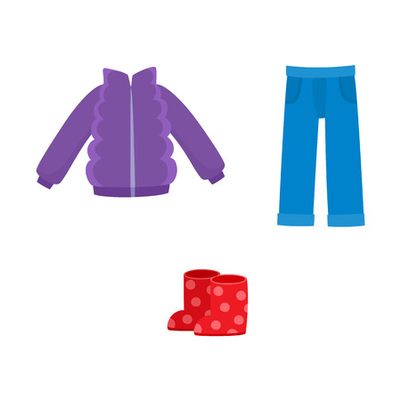vector flat girl kid child outfit outdoor apparel set - denim blue jeans, purple jacket and red dotted rubber boots. Isolated illustration on a white background.
